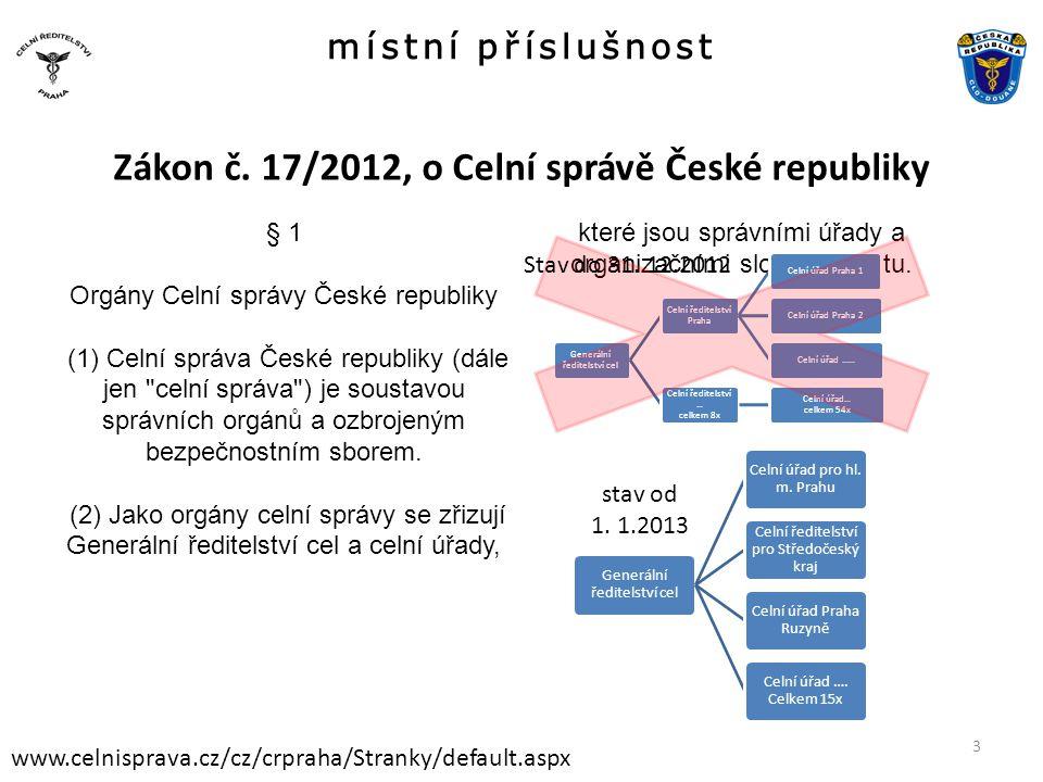 místní příslušnost www.celnisprava.cz/cz/crpraha/Stranky/default.aspx Zákon č. 17/2012, o Celní správě České republiky § 1 Orgány Celní správy České r