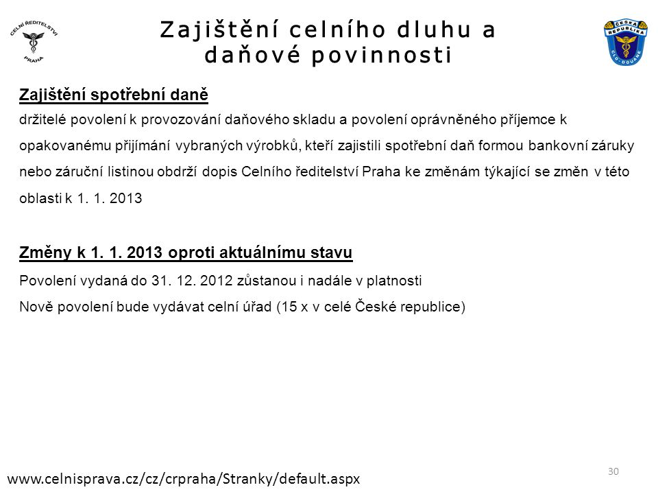 Zajištění celního dluhu a daňové povinnosti www.celnisprava.cz/cz/crpraha/Stranky/default.aspx Zajištění spotřební daně držitelé povolení k provozován