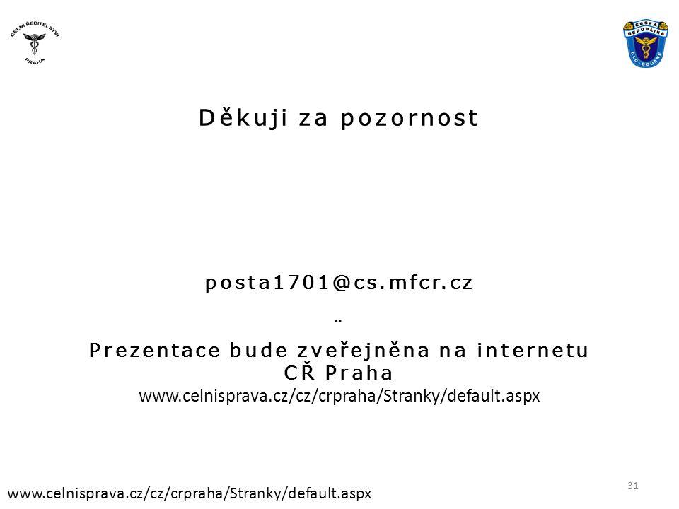 Děkuji za pozornost posta1701@cs.mfcr.cz ¨ Prezentace bude zveřejněna na internetu CŘ Praha www.celnisprava.cz/cz/crpraha/Stranky/default.aspx 31