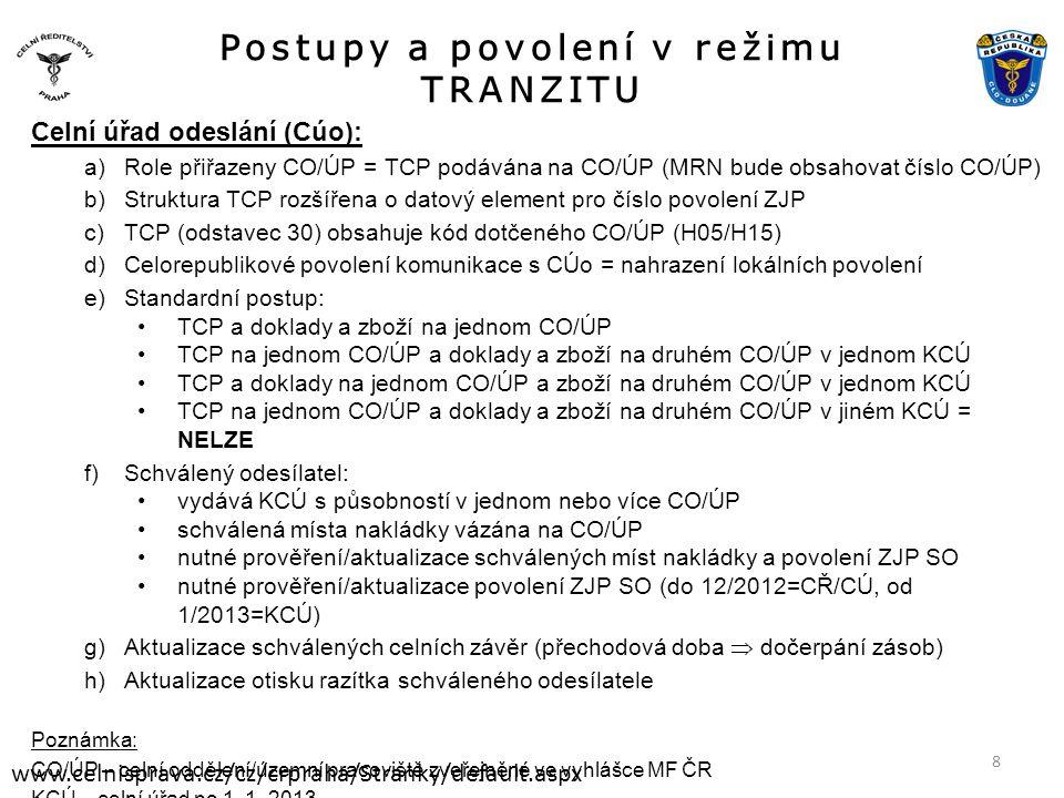 Postupy a povolení v režimu TRANZITU www.celnisprava.cz/cz/crpraha/Stranky/default.aspx Celní úřad odeslání (Cúo): a)Role přiřazeny CO/ÚP = TCP podávána na CO/ÚP (MRN bude obsahovat číslo CO/ÚP) b)Struktura TCP rozšířena o datový element pro číslo povolení ZJP c)TCP (odstavec 30) obsahuje kód dotčeného CO/ÚP (H05/H15) d)Celorepublikové povolení komunikace s CÚo = nahrazení lokálních povolení e)Standardní postup: •TCP a doklady a zboží na jednom CO/ÚP •TCP na jednom CO/ÚP a doklady a zboží na druhém CO/ÚP v jednom KCÚ •TCP a doklady na jednom CO/ÚP a zboží na druhém CO/ÚP v jednom KCÚ •TCP na jednom CO/ÚP a doklady a zboží na druhém CO/ÚP v jiném KCÚ = NELZE f)Schválený odesílatel: •vydává KCÚ s působností v jednom nebo více CO/ÚP •schválená místa nakládky vázána na CO/ÚP •nutné prověření/aktualizace schválených míst nakládky a povolení ZJP SO •nutné prověření/aktualizace povolení ZJP SO (do 12/2012=CŘ/CÚ, od 1/2013=KCÚ) g)Aktualizace schválených celních závěr (přechodová doba  dočerpání zásob) h)Aktualizace otisku razítka schváleného odesílatele Poznámka: CO/ÚP – celní oddělení/územní pracoviště zveřejněné ve vyhlášce MF ČR KCÚ – celní úřad po 1.