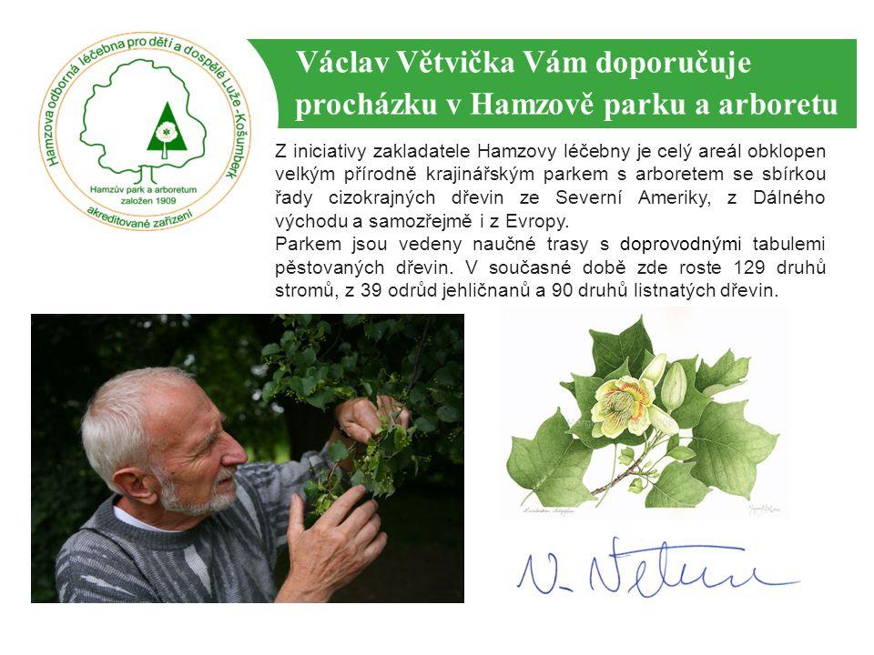 Václav Větvička Vám doporučuje procházku v Hamzově parku a arboretu Z iniciativy zakladatele Hamzovy léčebny je celý areál obklopen velkým přírodně kr