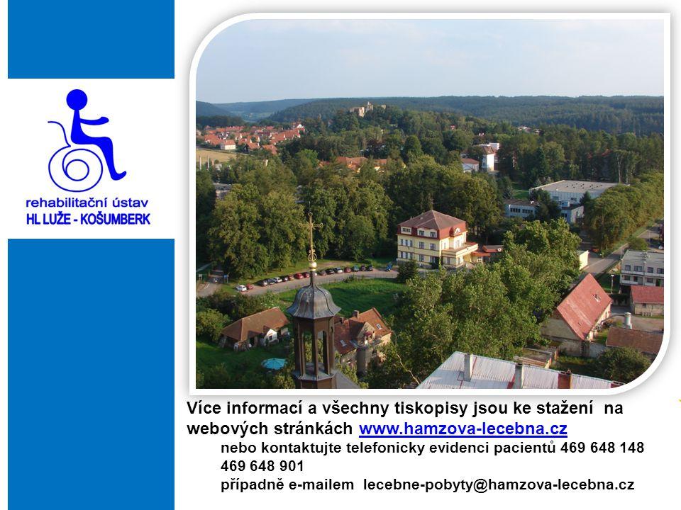 Více informací a všechny tiskopisy jsou ke stažení na webových stránkách www.hamzova-lecebna.czwww.hamzova-lecebna.cz nebo kontaktujte telefonicky evi