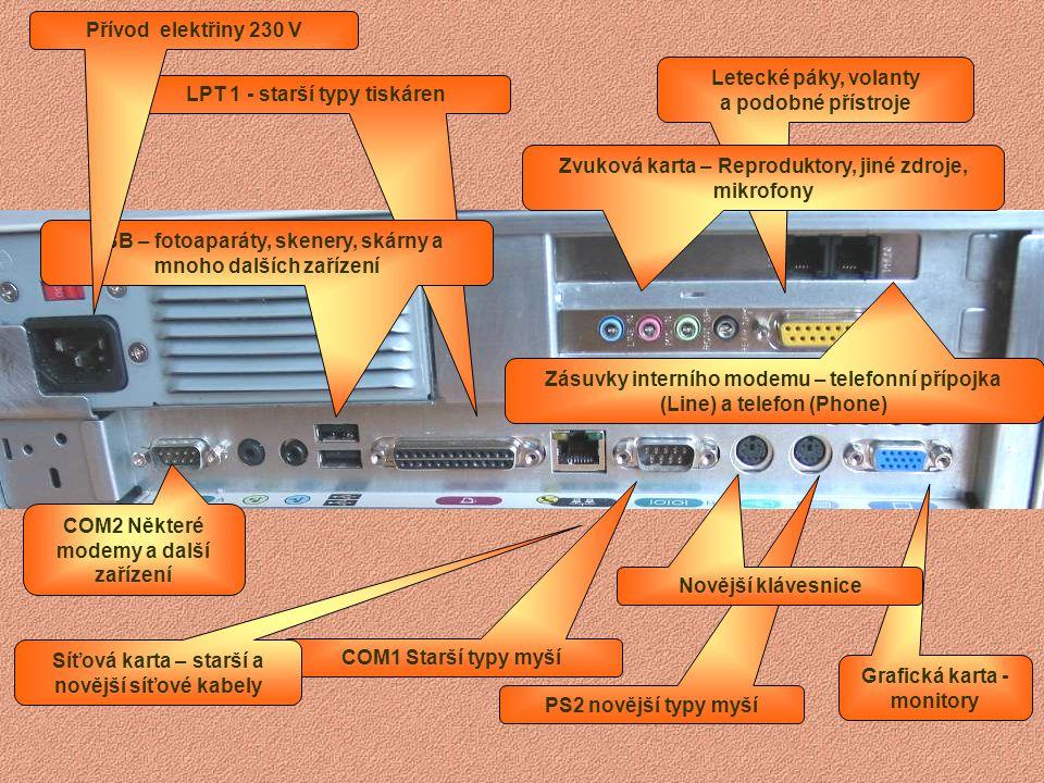 LPT 1 - starší typy tiskáren COM Některé modemy a další zařízení USB – fotoaparáty, skenery, skárny a mnoho dalších zařízení COM1 Starší typy myší PS2