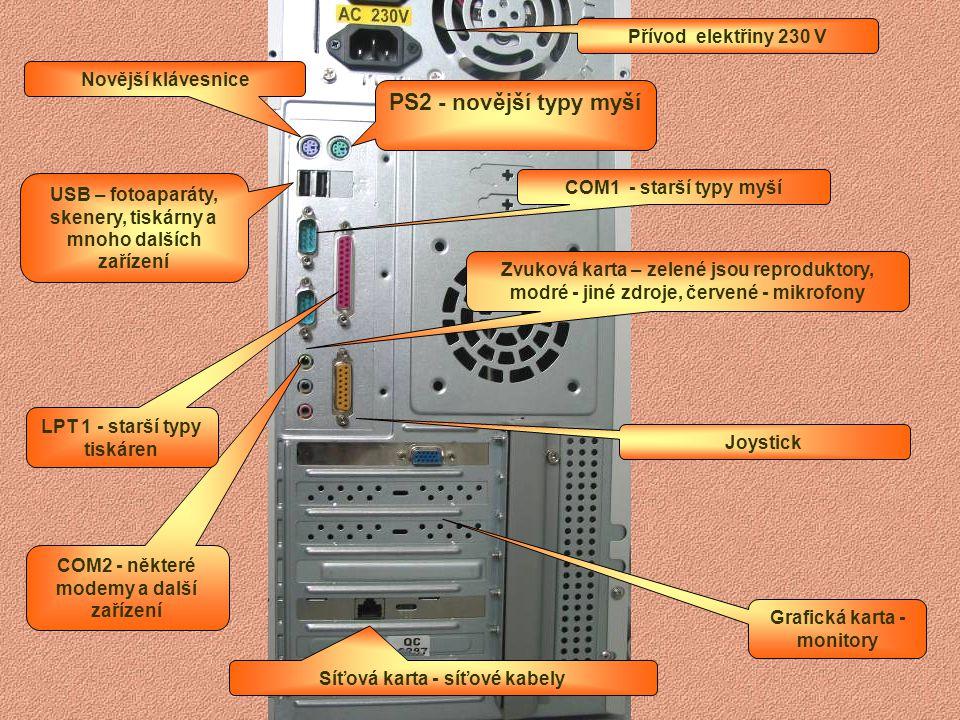 Grafická karta - monitory LPT 1 - starší typy tiskáren COM2 Některé modemy a další zařízení USB – fotoaparáty, skenery, skárny a mnoho dalších zařízen