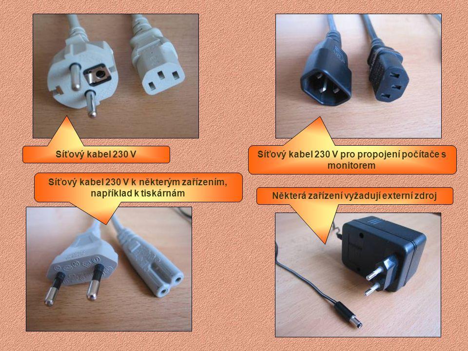 Starší a novější myši Zásuvka USB Novější a starší klávesnice Starší přívod k tiskárnám (LPT)