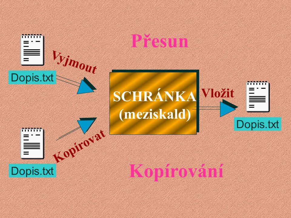  Schránka je místo (prostor) v operační paměti pro dočasné uložení objektů (soubory, složky, texty, obrázky a podobně…)  Ve schránce může být najedn