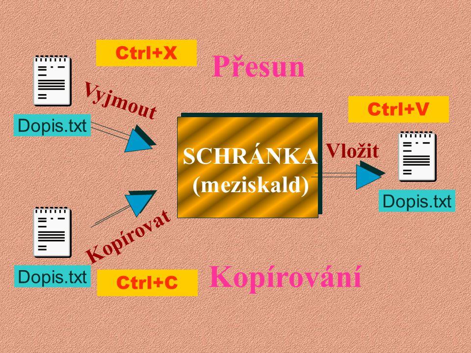Kopírování Vložit Kopírovat První krok Druhý krok Dopis.txt