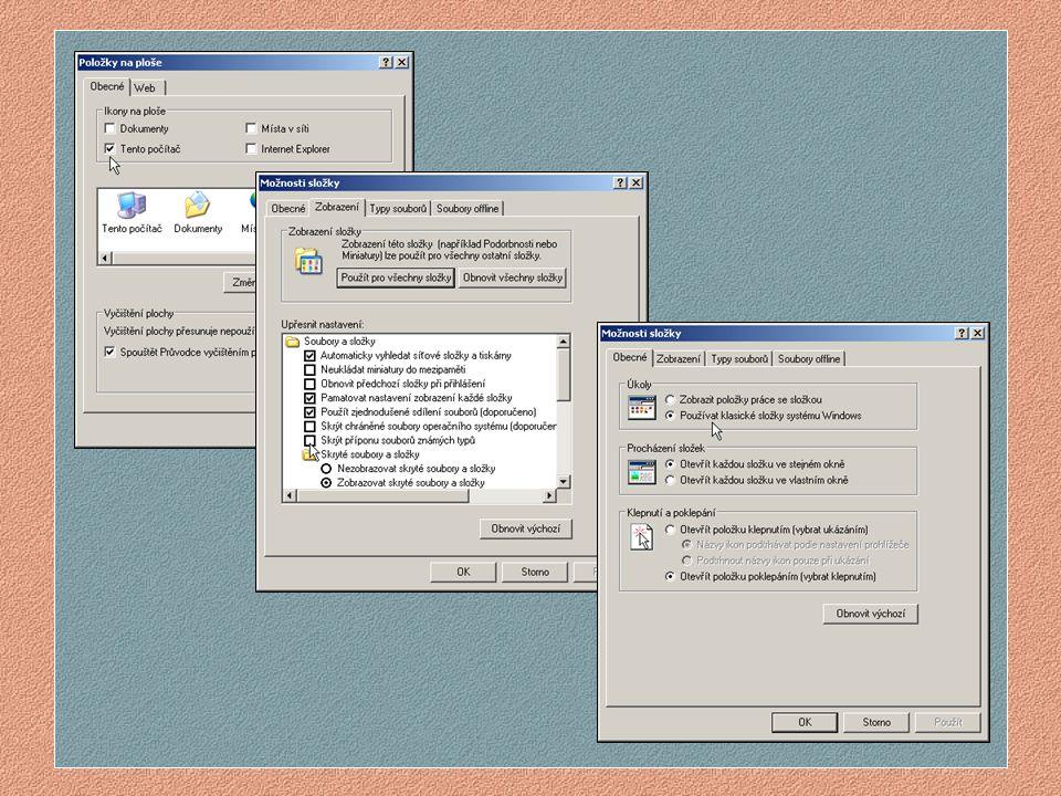 Hlavní panel PRACOVNÍ PLOCHA Windows 95/98 Hodiny Koš Ikona – Tento počítač Tlačítko Start