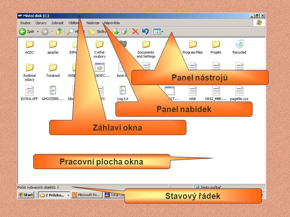 Aplikační okno Dialogové okno Okno složky
