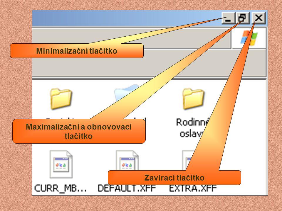 Panel nabídek Záhlaví okna Panel nástrojů Stavový řádek Pracovní plocha okna