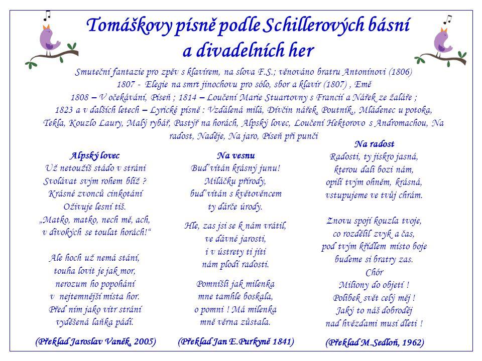 Alpský lovec Tomáškova píseň na slova básně Friedricha Schillera