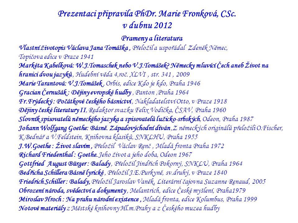 Prezentaci připravila PhDr.Marie Fronková, CSc.