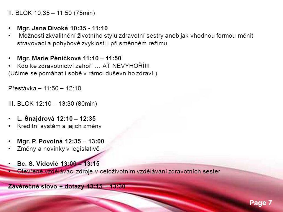 Free Powerpoint Templates Page 7 II. BLOK 10:35 – 11:50 (75min) •Mgr. Jana Divoká 10:35 - 11:10 • Možnosti zkvalitnění životního stylu zdravotní sestr