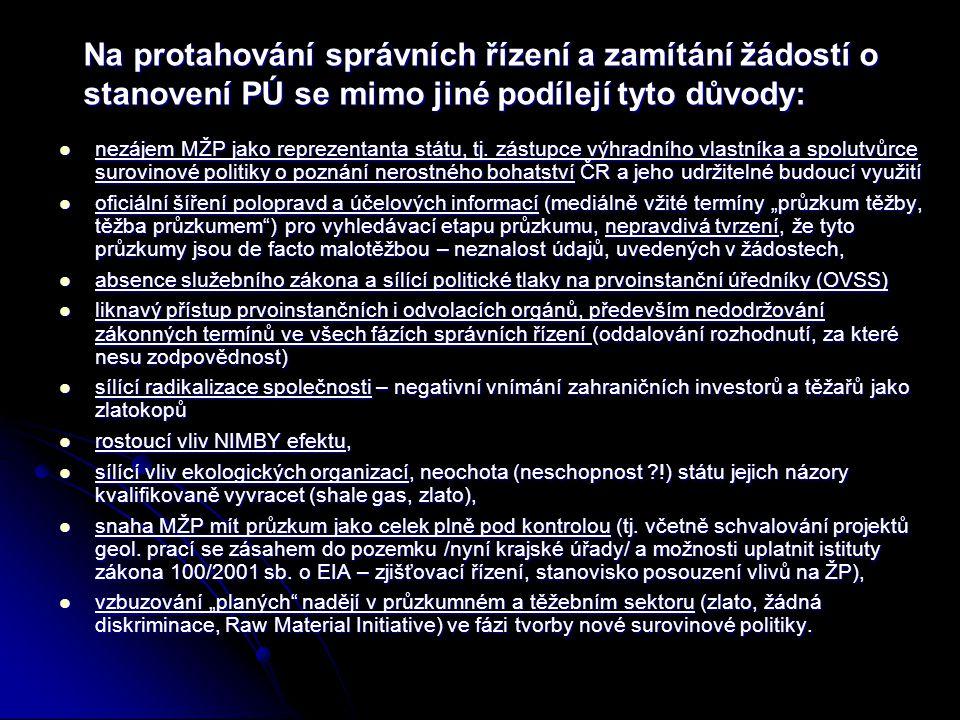 Na protahování správních řízení a zamítání žádostí o stanovení PÚ se mimo jiné podílejí tyto důvody:  nezájem MŽP jako reprezentanta státu, tj. zástu
