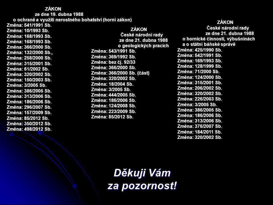 Děkuji Vám za pozornost! ZÁKON České národní rady ze dne 21. dubna 1988 o geologických pracích Změna: 543/1991 Sb. Změna: 369/1992 Sb. Změna: bez čj.