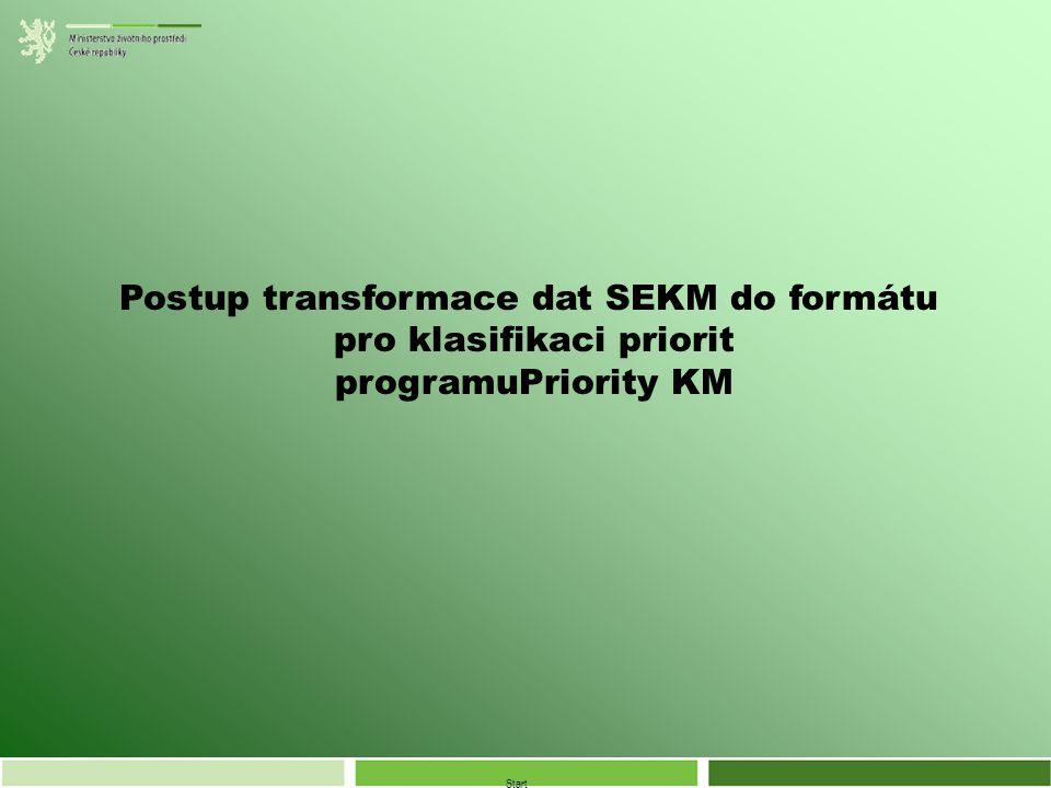 Start Postup transformace dat SEKM do formátu pro klasifikaci priorit programuPriority KM