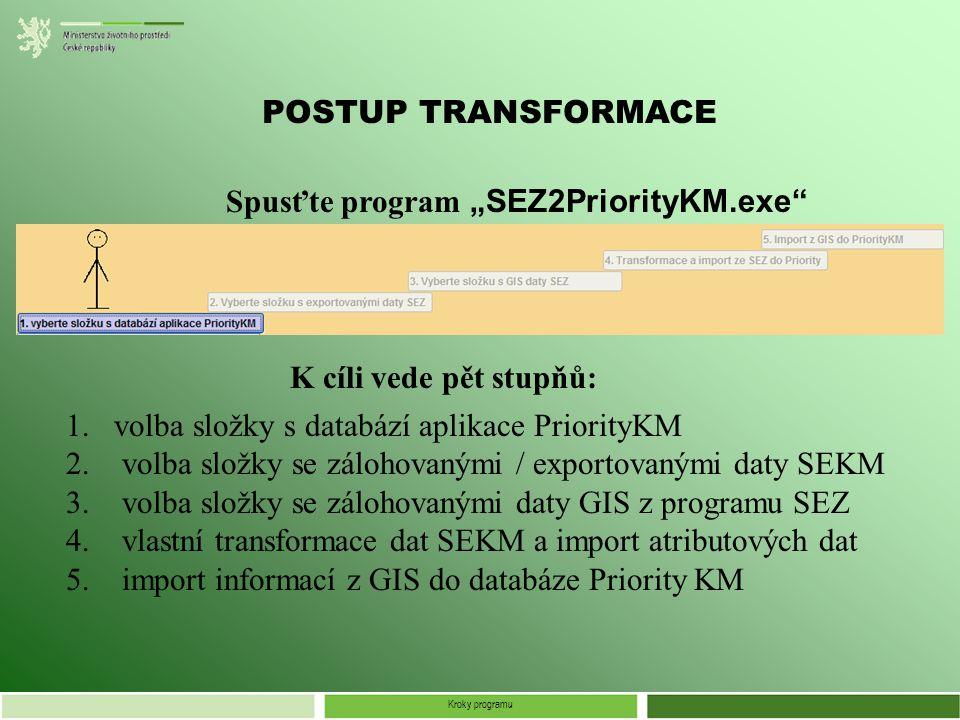"""Kroky programu POSTUP TRANSFORMACE Spusťte program """"SEZ2PriorityKM.exe 1.volba složky s databází aplikace PriorityKM 2."""