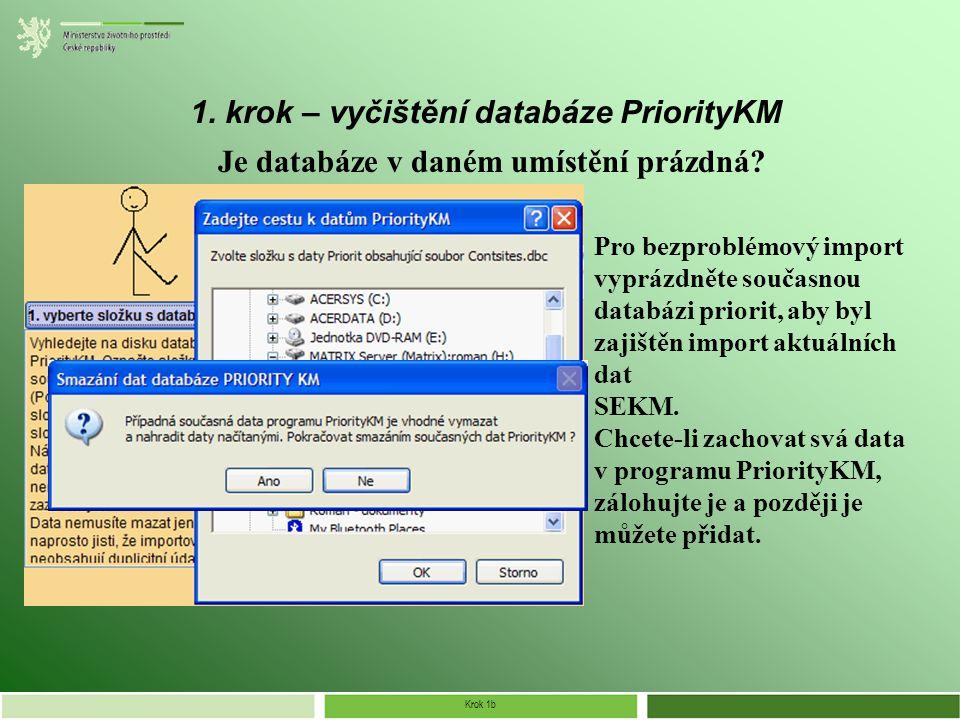 Krok 1b 1. krok – vyčištění databáze PriorityKM Je databáze v daném umístění prázdná.