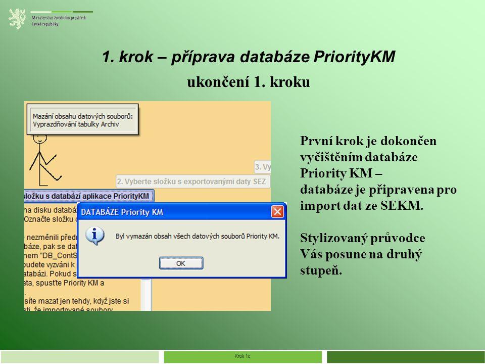 Krok 1c 1. krok – příprava databáze PriorityKM ukončení 1.