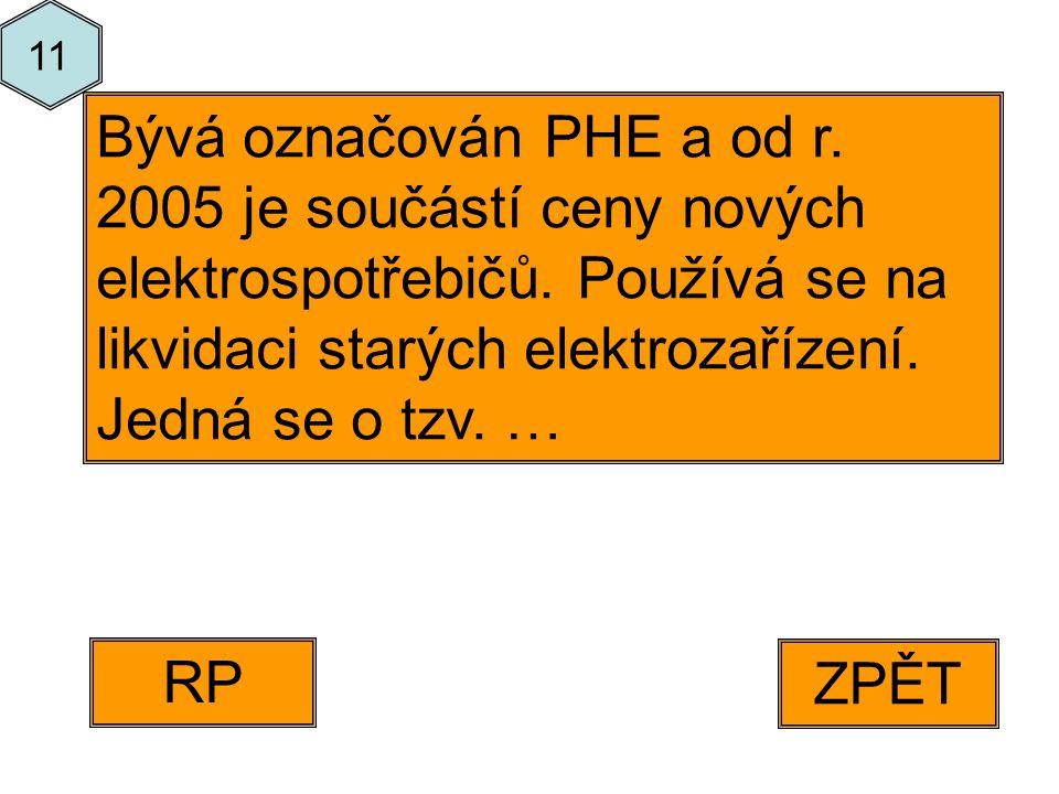 ZPĚT RP Bývá označován PHE a od r. 2005 je součástí ceny nových elektrospotřebičů.
