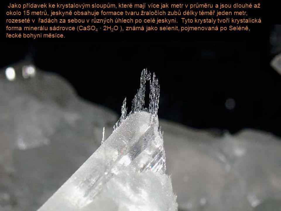Jako přídavek ke krystalovým sloupům, které mají více jak metr v průměru a jsou dlouhé až okolo 15 metrů, jeskyně obsahuje formace tvaru žraločích zub