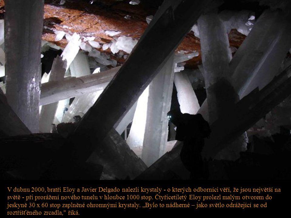 V dubnu 2000, bratři Eloy a Javier Delgado nalezli krystaly - o kterých odborníci věří, že jsou největší na světě - při prorážení nového tunelu v hlou