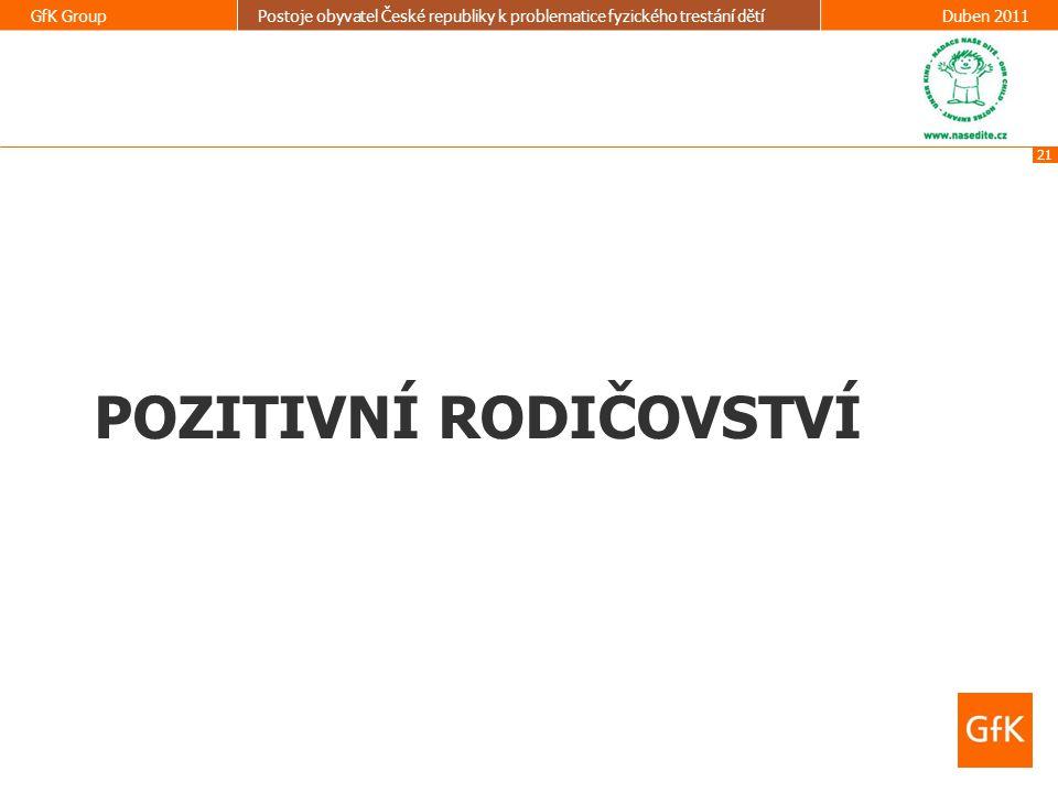 21 GfK GroupPostoje obyvatel České republiky k problematice fyzického trestání dětíDuben 2011 POZITIVNÍ RODIČOVSTVÍ