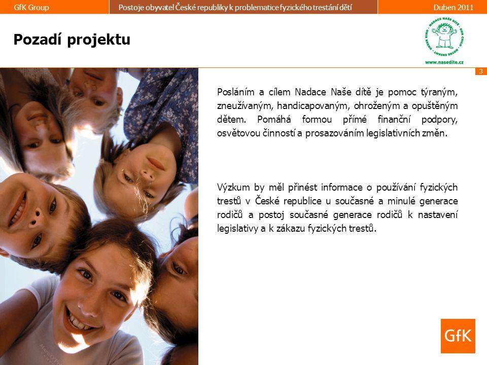 3 GfK GroupPostoje obyvatel České republiky k problematice fyzického trestání dětíDuben 2011 Pozadí projektu Posláním a cílem Nadace Naše dítě je pomo