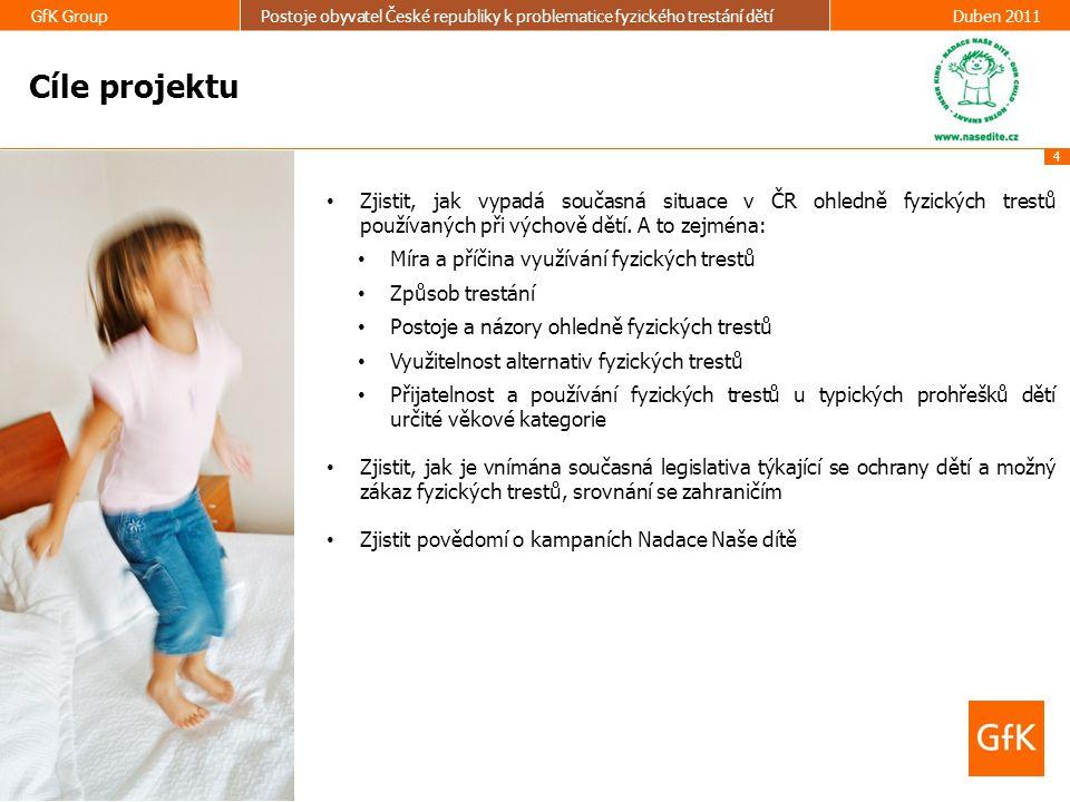 25 GfK GroupPostoje obyvatel České republiky k problematice fyzického trestání dětíDuben 2011 ČINNOST NADACE NAŠE DÍTĚ