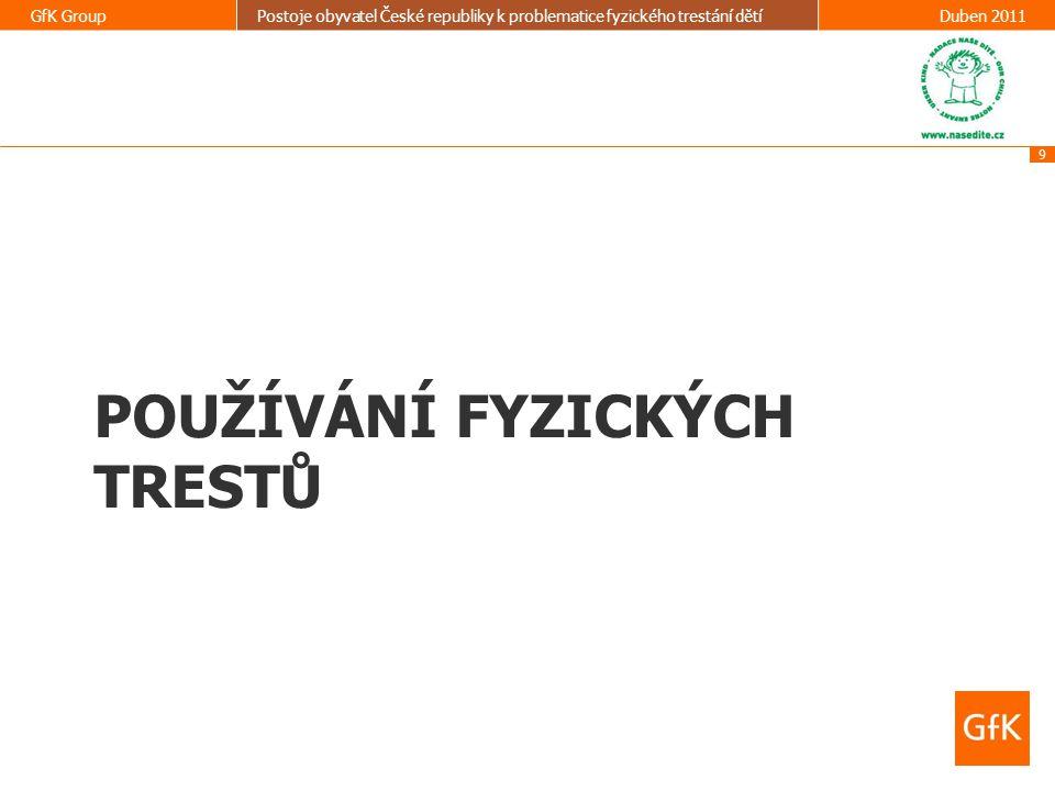 9 GfK GroupPostoje obyvatel České republiky k problematice fyzického trestání dětíDuben 2011 POUŽÍVÁNÍ FYZICKÝCH TRESTŮ
