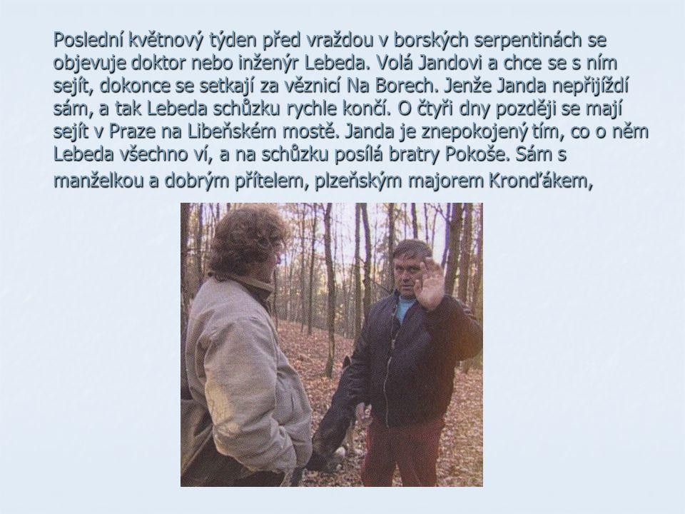 Poslední květnový týden před vraždou v borských serpentinách se objevuje doktor nebo inženýr Lebeda. Volá Jandovi a chce se s ním sejít, dokonce se se