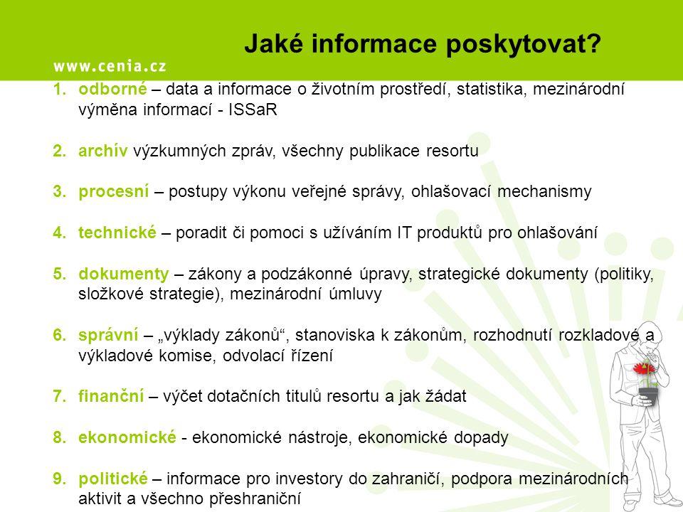 Jaké informace poskytovat? 1.odborné – data a informace o životním prostředí, statistika, mezinárodní výměna informací - ISSaR 2.archív výzkumných zpr