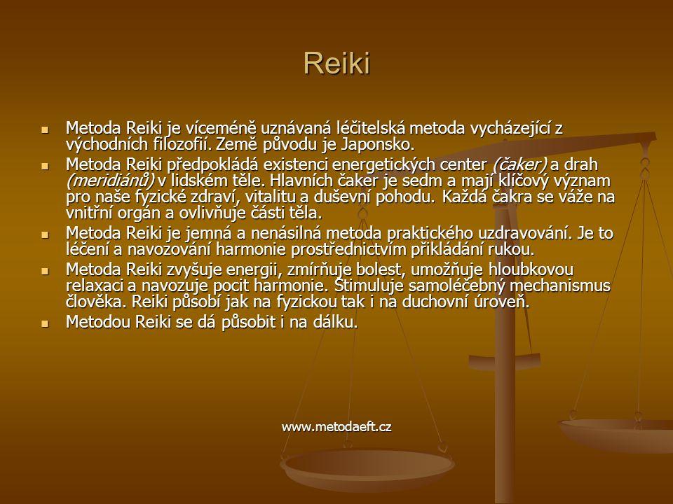 Reiki  Metoda Reiki je víceméně uznávaná léčitelská metoda vycházející z východních filozofií. Země původu je Japonsko.  Metoda Reiki předpokládá ex