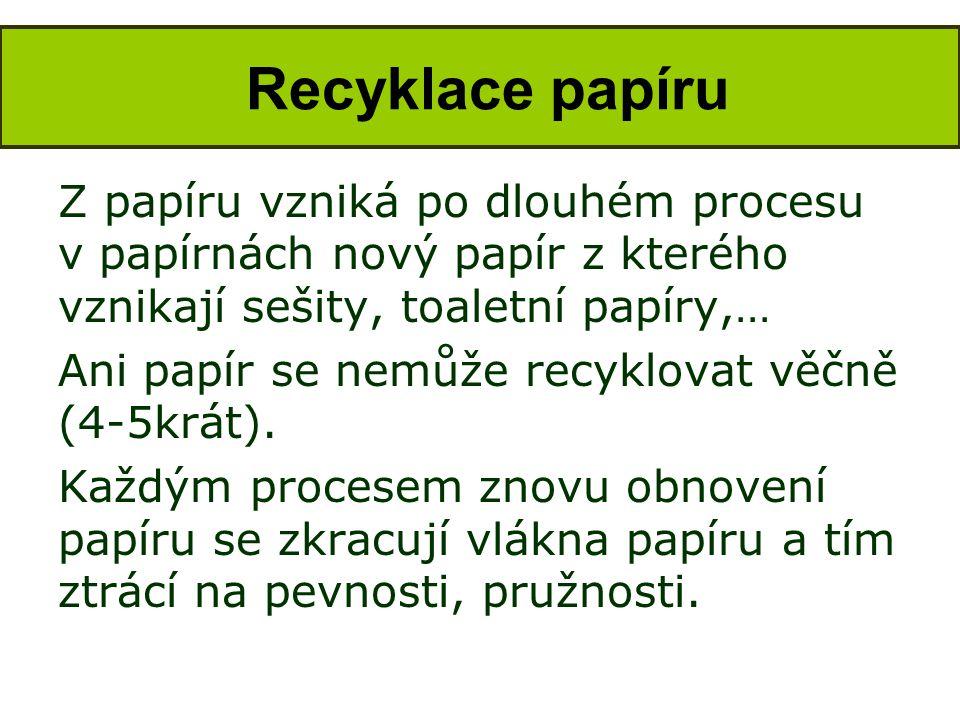 Z papíru vzniká po dlouhém procesu v papírnách nový papír z kterého vznikají sešity, toaletní papíry,… Ani papír se nemůže recyklovat věčně (4-5krát).