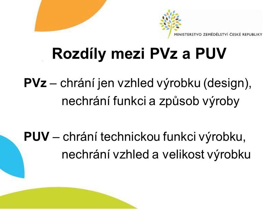 Rozdíly mezi PVz a PUV PVz – chrání jen vzhled výrobku (design), nechrání funkci a způsob výroby PUV – chrání technickou funkci výrobku, nechrání vzhl