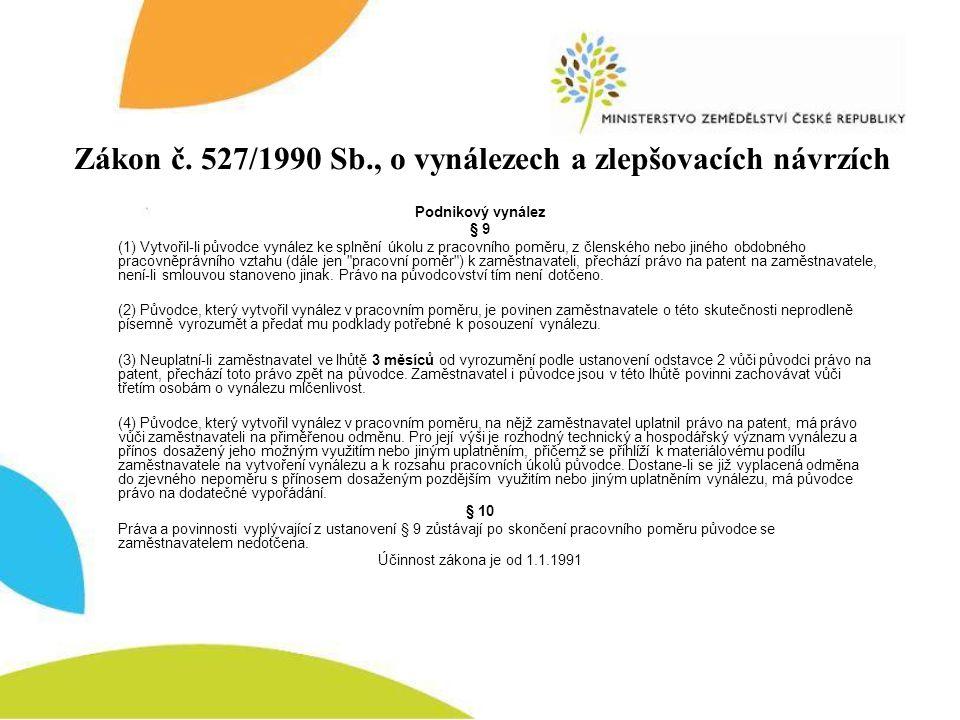 Podnikový vynález § 9 (1) Vytvořil-li původce vynález ke splnění úkolu z pracovního poměru, z členského nebo jiného obdobného pracovněprávního vztahu