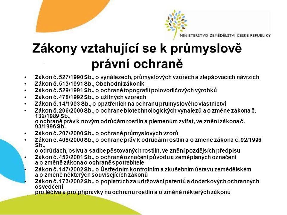 Zákony vztahující se k průmyslově právní ochraně (2.) •Zákon č.