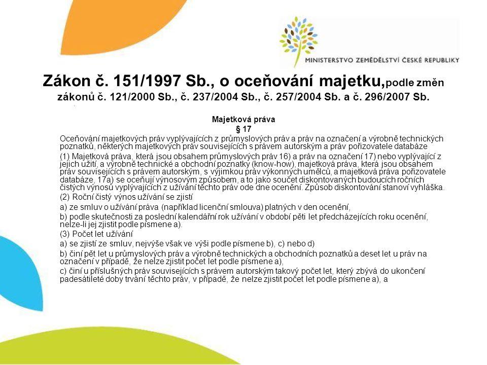 Zákon č. 151/1997 Sb., o oceňování majetku, podle změn zákonů č. 121/2000 Sb., č. 237/2004 Sb., č. 257/2004 Sb. a č. 296/2007 Sb. Majetková práva § 17