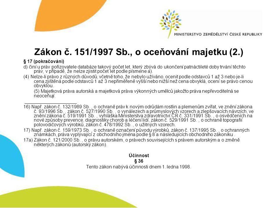 Zákon č. 151/1997 Sb., o oceňování majetku (2.) § 17 (pokračování) d) činí u práv pořizovatele databáze takový počet let, který zbývá do ukončení patn
