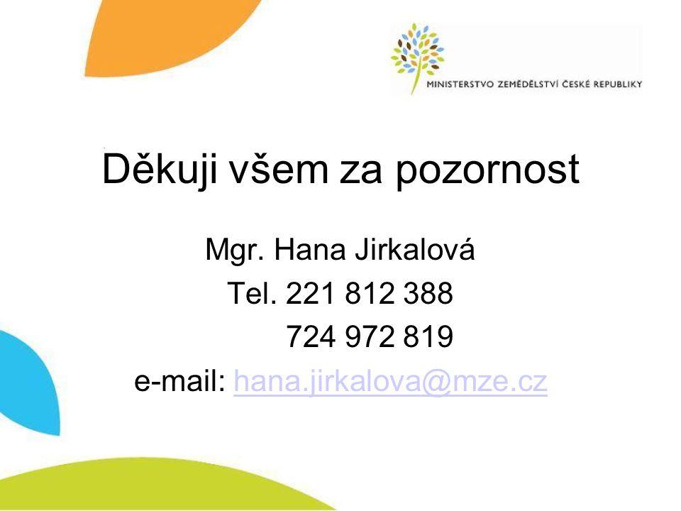 Děkuji všem za pozornost Mgr. Hana Jirkalová Tel. 221 812 388 724 972 819 e-mail: hana.jirkalova@mze.czhana.jirkalova@mze.cz