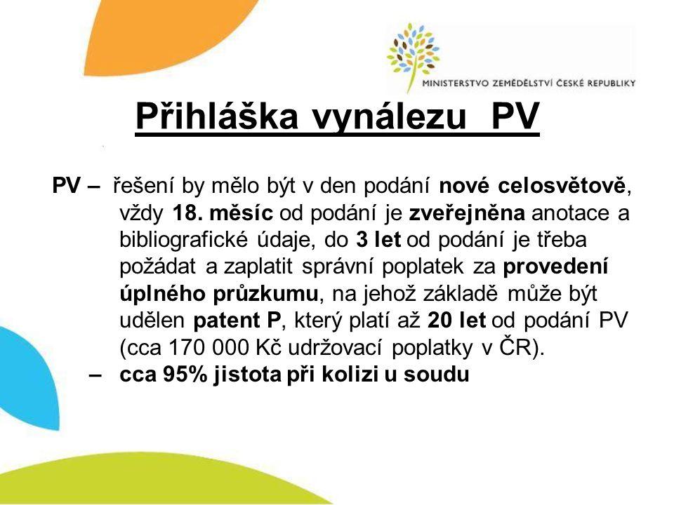Přihláška vynálezu PV PV – řešení by mělo být v den podání nové celosvětově, vždy 18. měsíc od podání je zveřejněna anotace a bibliografické údaje, do