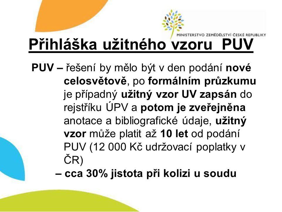 Přihláška průmyslového vzoru PVz PVz – řešení by mělo být v den podání nové celosvětově, po kladném formálním i věcném průzkumu je případný průmyslový vzor PVz zapsán do rejstříku ÚPV a potom je zveřejněn včetně bibliografických údajů, průmyslový vzor může platit až 25 let od podání PVz (30000 Kč udržovací poplatky v ČR) – cca 95% jistota při kolizi u soudu