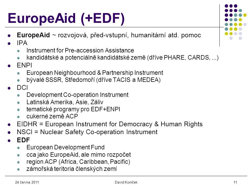24.června 2011David Koníček11 EuropeAid (+EDF)  EuropeAid ~ rozvojová, před-vstupní, humanitární atd.