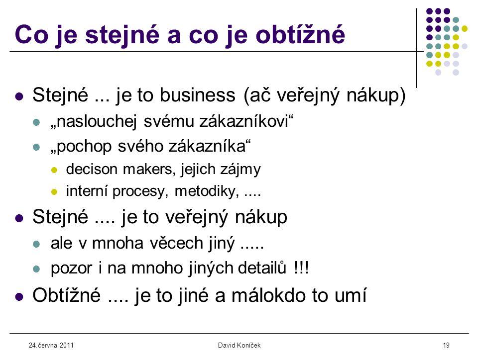 24.června 2011David Koníček19 Co je stejné a co je obtížné  Stejné...