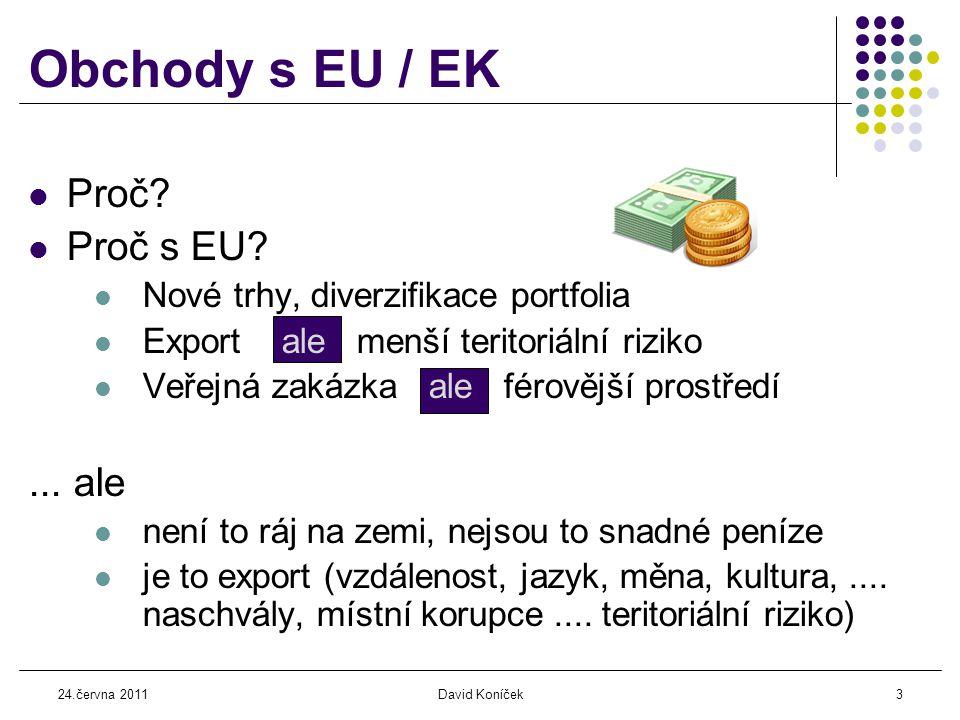 24.června 2011David Koníček14 Veřejné zakázky z peněz EU  Mnoho institucí: EK...