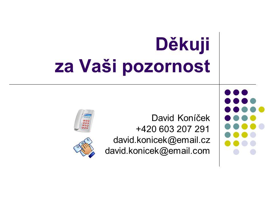 Děkuji za Vaši pozornost David Koníček +420 603 207 291 david.konicek@email.cz david.konicek@email.com