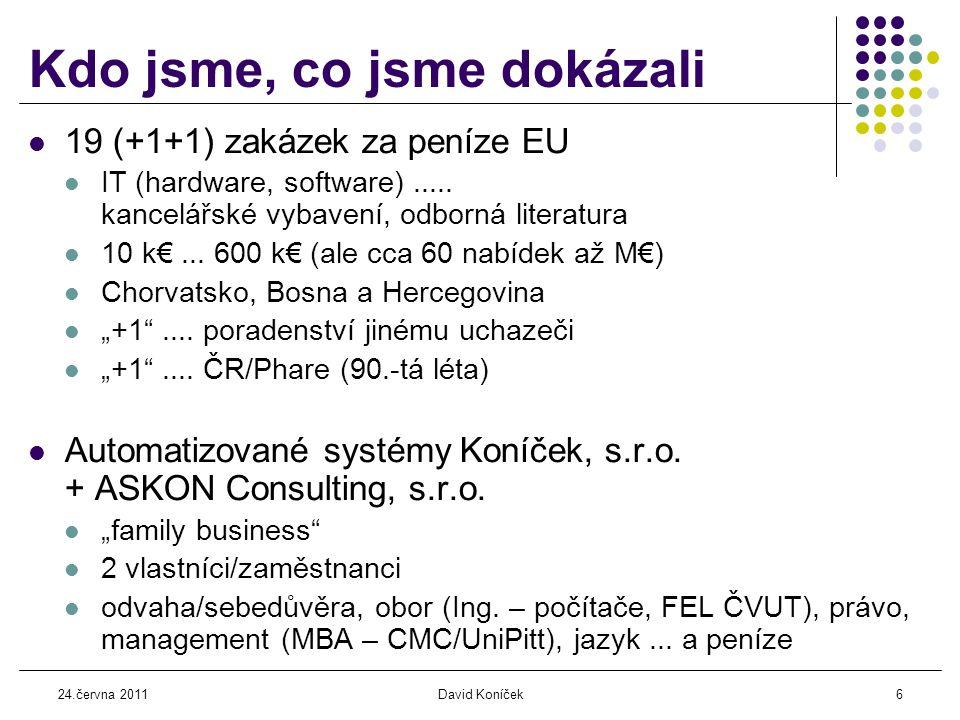 24.června 2011David Koníček17 Další (nezbytné) informace  Předpisy, pravidla  Obecné informace o Unii (weby EK, MMR, MZV, vlády ČR,...)  Právo kontraktu (belgické nebo místní)...