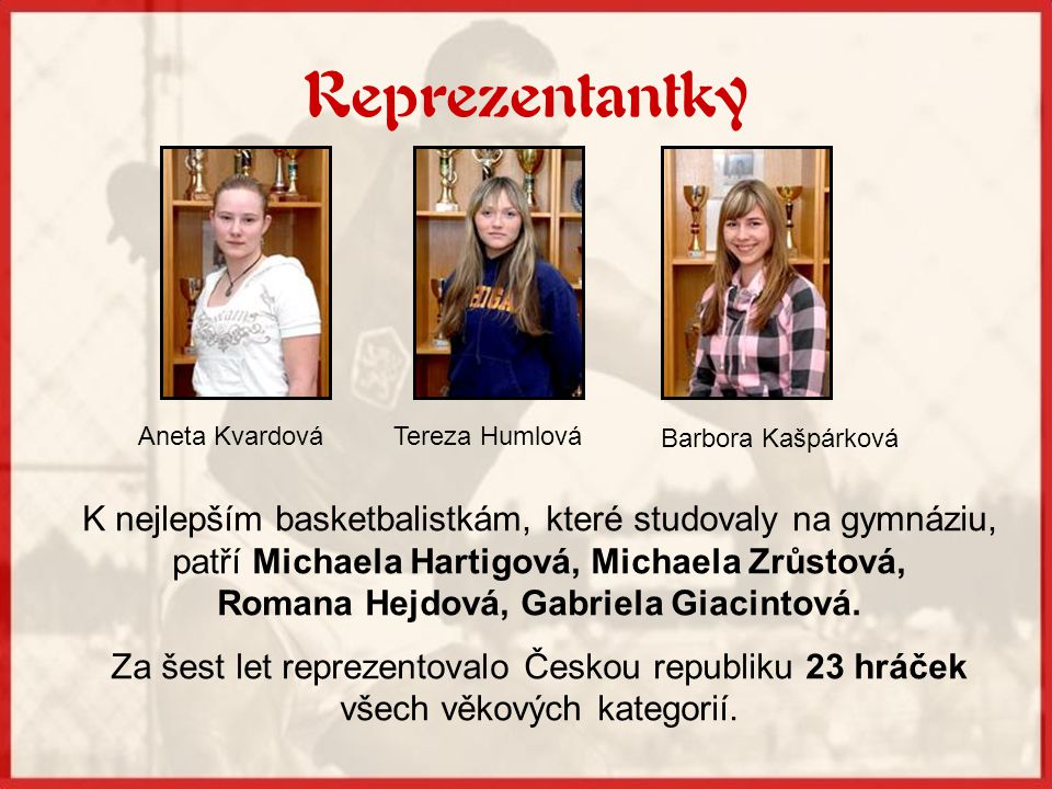 Reprezentantky Markéta Šívrová Monika Šívrová Michaela Pavlasová Michaela Rybková Pavla Švrdlíková Petra Benešová