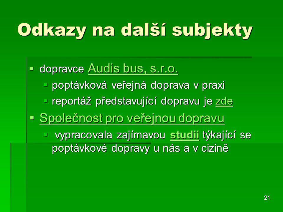 21 Odkazy na další subjekty  dopravce Audis bus, s.r.o. Audis bus, s.r.o. Audis bus, s.r.o.  poptávková veřejná doprava v praxi  reportáž představu