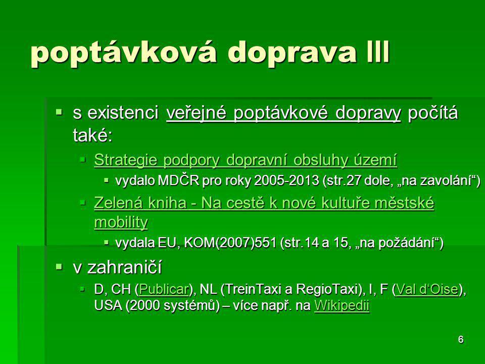 6 poptávková doprava III  s existenci veřejné poptávkové dopravy počítá také:  Strategie podpory dopravní obsluhy území Strategie podpory dopravní o